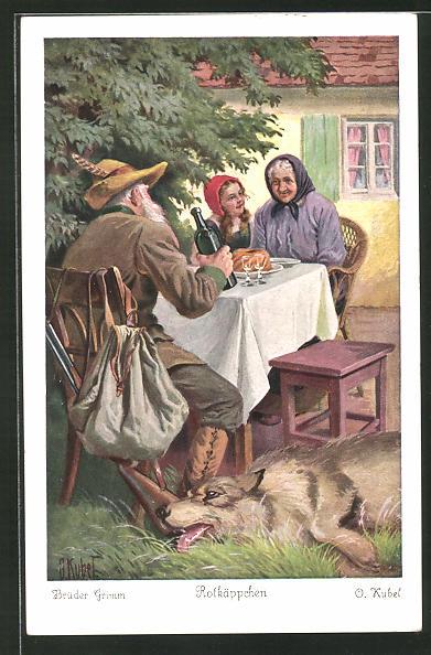 Künstler-AK Otto Kubel: Rotkäppchen bei Speis und Trank mit der Grossmutter und dem Jäger