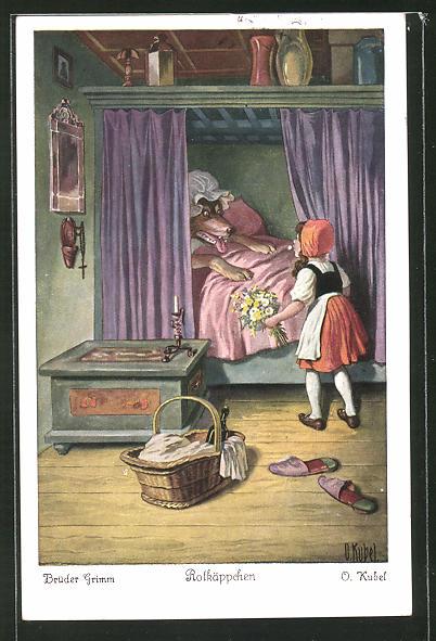 Künstler-AK Otto Kubel: Rotkäppchen am Bett der Grossmutter mit dem Wolf