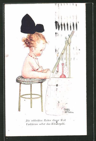 Künstler-AK Mabel Lucie Attwell: die schlechten Zeiten dieser Welt, verkürzen selbst das Kleidergeld, nacktes Baby