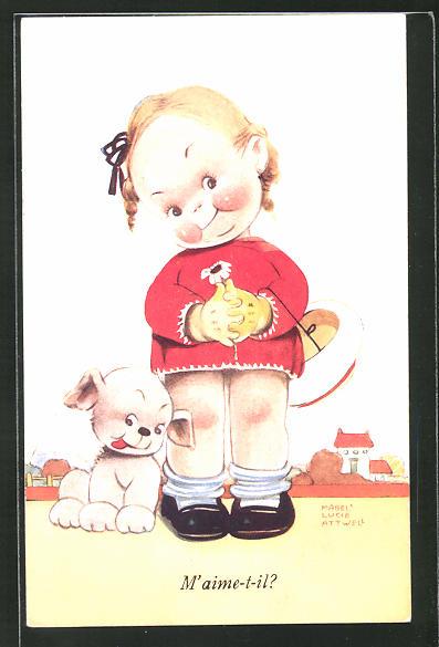 Künstler-AK Mabel Lucie Attwell: M'aime-t-il?, kleines Mädchen ohne Hose mit einem Hund