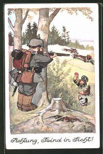 Künstler-AK P. O. Engelhard (P.O.E.): Achtung, Feind in Sicht!, Soldat mich Pickelhaube zielt auf Füchse mit Mützen