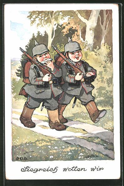 Künstler-AK P. O. Engelhard (P.O.E.): Siegreich wollen wir, Jungs als Soldaten mit Pickelhauben und Mundharmonika