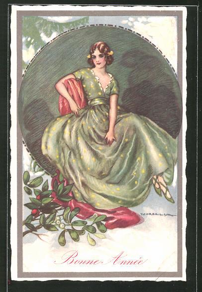 Künstler-AK Tito Corbella: Bonne Année, Frau in einem grünen Kleid mit Mistelzweigen