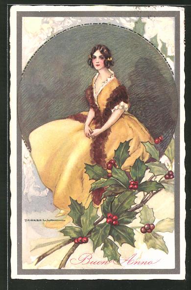 Künstler-AK Tito Corbella: Buon Anno, Frau im gelben Kleid mit Schleifen im Haar und Mistelzweigen