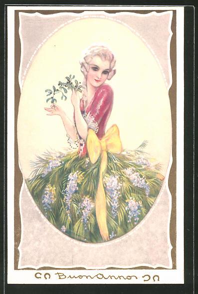Künstler-AK Tito Corbella: Frau in einem Kleid mit einem Rock aus lilanem Flieder, Art Deco