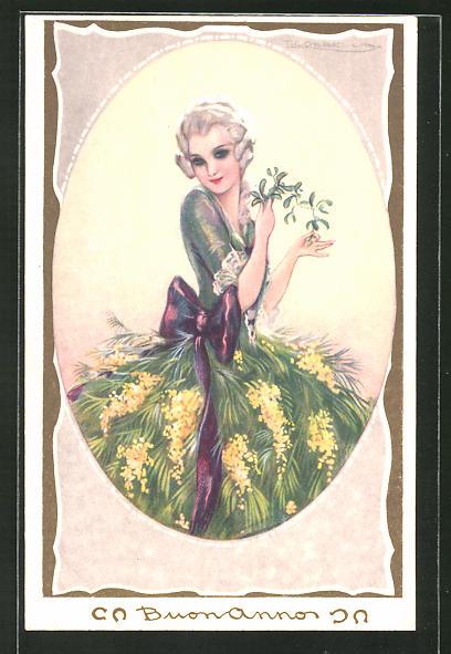 Künstler-AK Tito Corbella: Frau in einem Kleid mit einem Rock aus gelbem Flieder, Art Deco