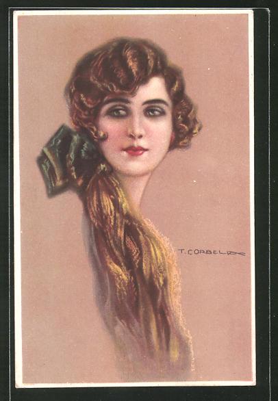 Künstler-AK Tito Corbella: Portrait einer Frau mit grüner Schleife im Haar