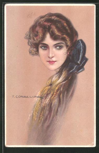 Künstler-AK Tito Corbella: braunhaarige Frau mit blauer Schleife im Haar