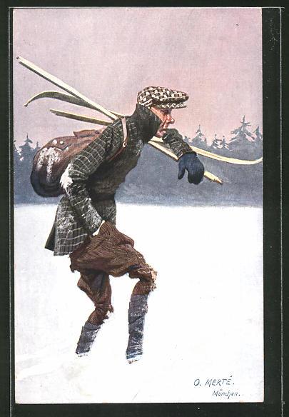 Künstler-AK O. Merte: durch den Schnee stapfender Mann mit Holzbrettern auf der Schulter