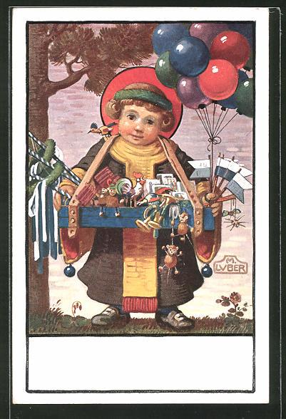 Künstler-AK Max Luber: kleiner Junge mit Souvenirs