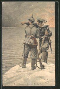Künstler-AK Arthur Thiele: Soldat mit Pickelhaube bekommt von einem Marine-Soldaten etwas gezeigt