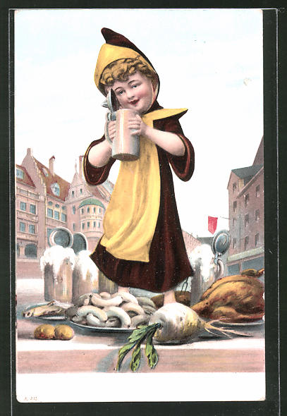 AK Münchner Kindl in der Innenstadt mit Weisswurst, Hühnchen, Rüben und Bier