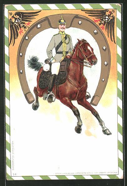 AK Kavallerie mit Pickelhaube reitet durch ein Hufeisen durch