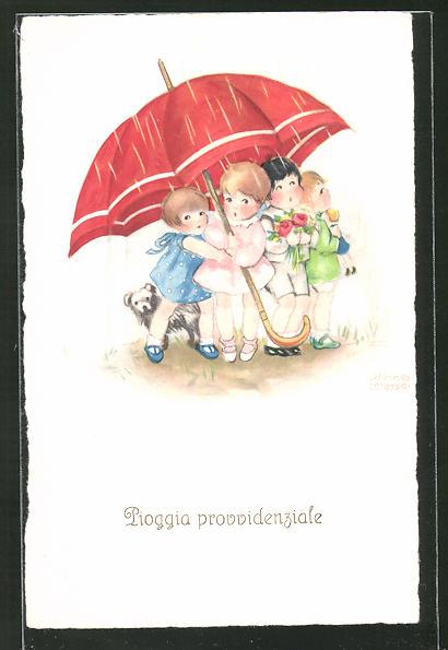 Künstler-AK Hannes Petersen: Pioggia provvidenziale, Kinder unter einem Regenschirm