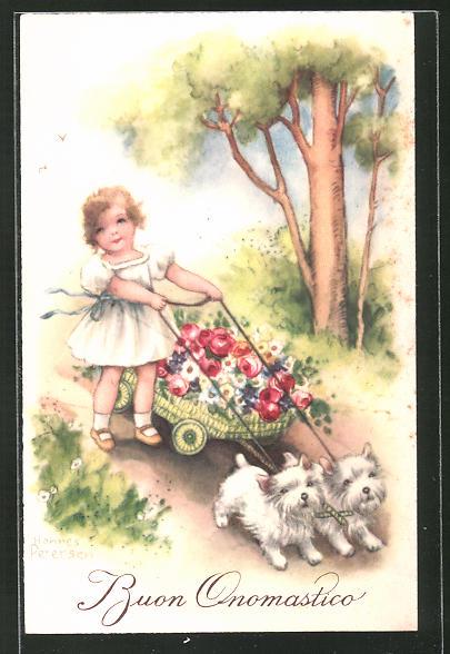 Künstler-AK Hannes Petersen: Buon Onomastico, Mädchen & Hunde transportieren einen Karren Blumen