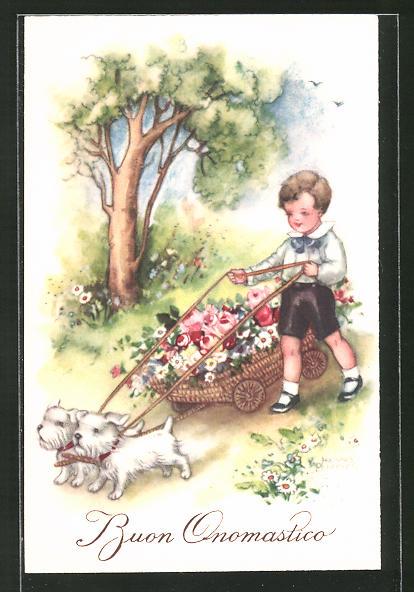 Künstler-AK Hannes Petersen: Buon Onomastico, Junge & Hunde transportieren einen Karren Blumen
