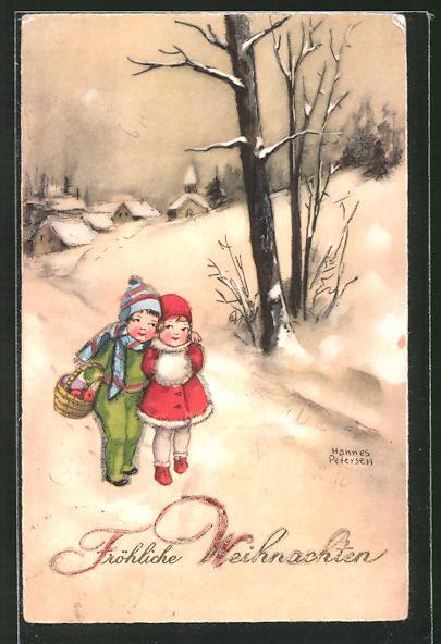 Künstler-AK Hannes Petersen: Kinder gehen im Schnee Spazieren, Fröhliche Weihnachten