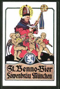 Künstler-AK Otto Obermeier: München, St. Benno-Bier im Löwenbräu, Sanct Benno mit Engeln