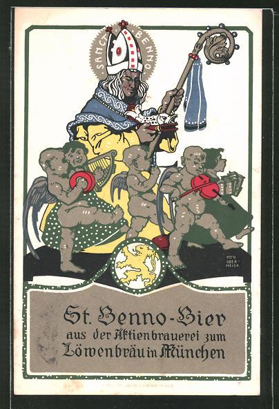 Künstler-AK Otto Obermeier: München, St. Benno-Bier aus der Aktienbrauerei Löwenbräu, Sanct Benno mit Engeln