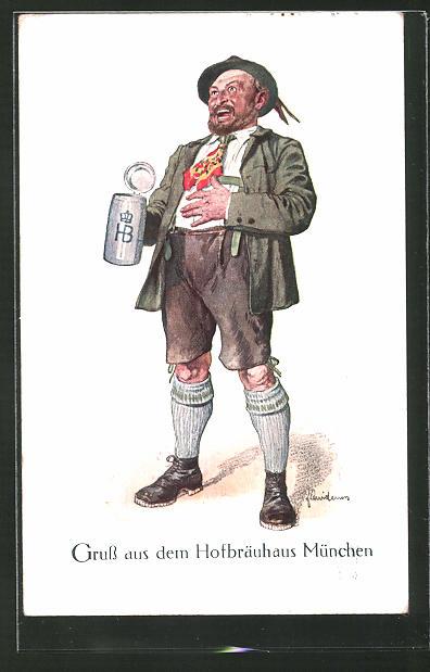 Künstler-AK Fritz Quidenus: lachender Mann in Lederhose mit Bier aus dem Hofbräuhaus München