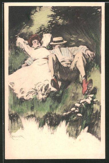 Künstler-AK Ferdinand von Reznicek: Paar schlafend im Gras