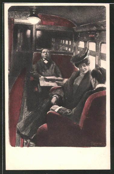 Künstler-AK Ferdinand von Reznicek: Fahrgäste im Zug