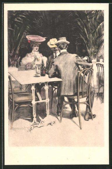 Künstler-AK Ferdinand von Reznicek: Frau und Männer in einem Café