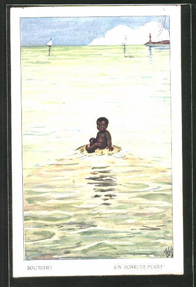 Künstler-AK Willi Scheuermann: dunkelhäutiges Baby im Meer
