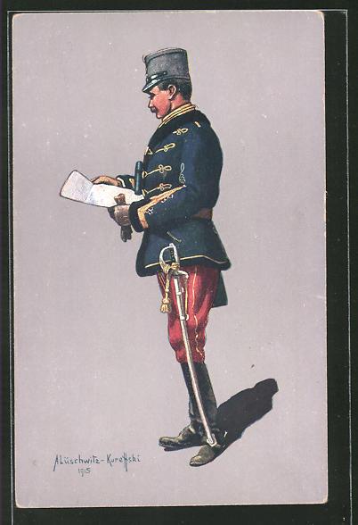 AK Oesterr.-Ung. Husaren-Stabsoffizier in Felduniform, 1914-1915