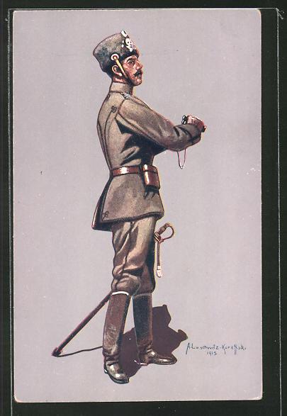 AK Stabsoffizier des 1. Leib-Husaren-Reg. Nr. 1 (Danzig-Langfuhr) in Felduniform 1914-1915