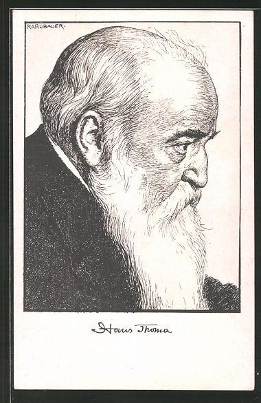 Künstler-AK Hans Thoma: Portrait des Künstlers von Karl Bauer
