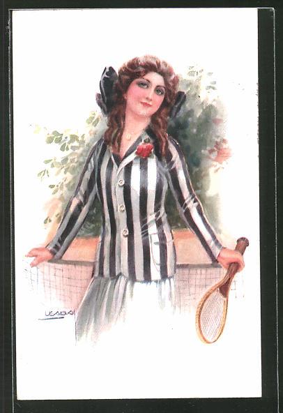 Künstler-AK Luis Usabal: brünettes Mädchen mit Tennisschläger
