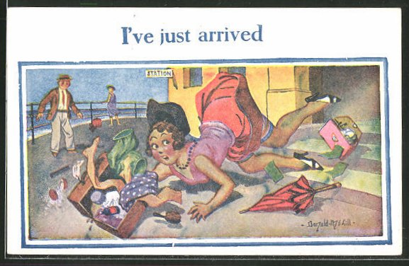 Künstler-AK Donald McGill: junge Frau stürzt die Bahnhofstreppe hinab