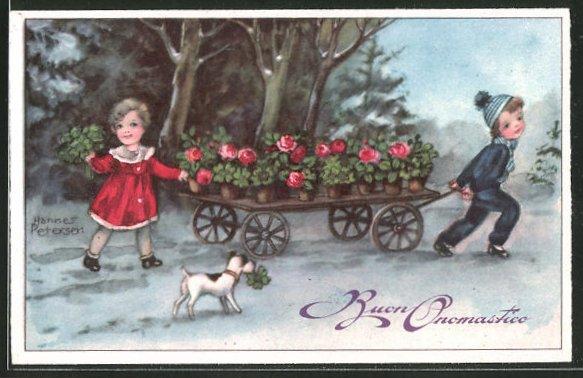 Künstler-AK Hannes Petersen: Kinder ziehen einen Blumenkarren