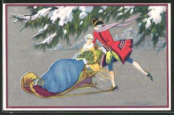 Künstler-AK Tito Corbella: Kavalier auf Schlittschuhen schiebt seine Liebsten im Schlitten übers Eis, Art Deco