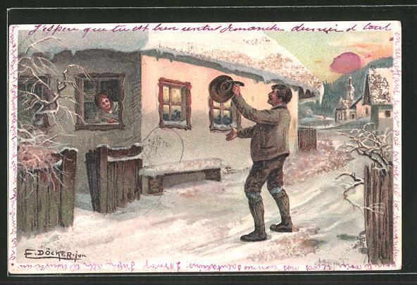 Künstler-AK E. Döcker: Frau grüsst aus dem Fenster einen Mann auf der Strasse