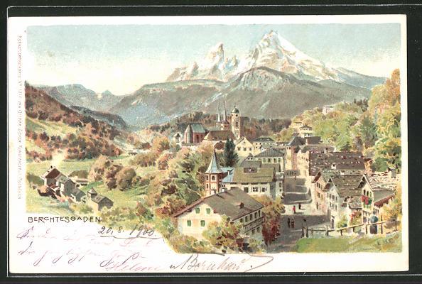 Künstler-AK Edward Harrison Compton: Berchtesgaden, Panoramablick auf den Ort