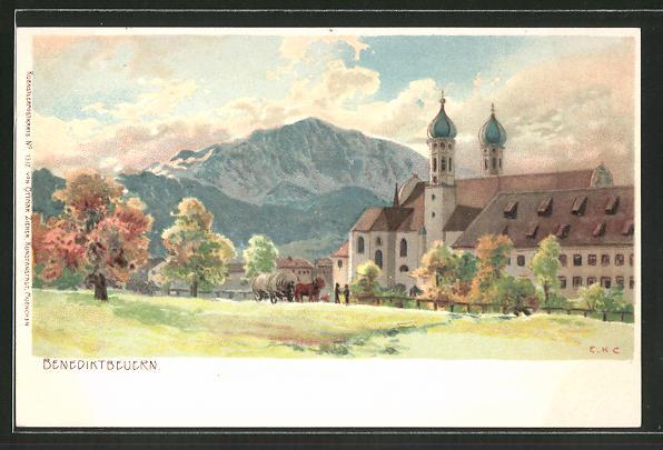 Künstler-AK Edward Harrison Compton: Benediktbeuern, Teilansicht mit Kirche