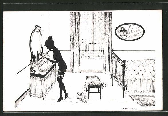 Künstler-AK Manni Grosze: Schöne Nackte bei der Morgentoilette