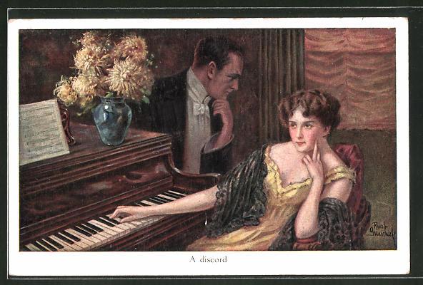 Künstler-AK Ruab Gnischaf: A discord, missgelauntes Paar sitzt am Klavier