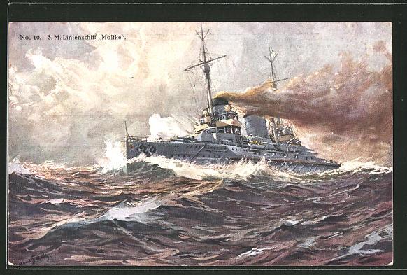 Künstler-AK Hans Bohrdt: Kriegsschiff