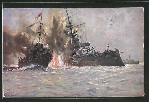 Künstler-AK Hans Bohrdt: Vernichtung des englischen Kriegsschiffs