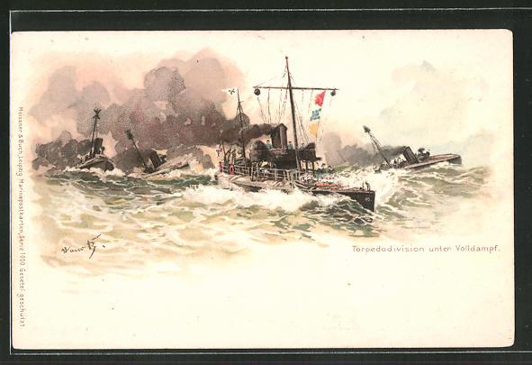 Künstler-AK Hans Bohrdt: Torpedodivision unter Volldampf