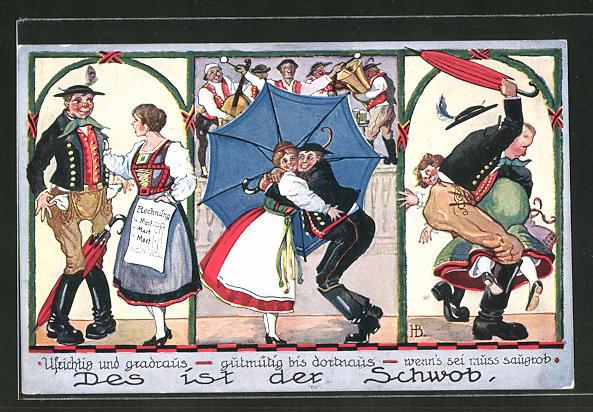 Künstler-AK Hans Boettcher: Des ist der Schwob, Ufrichtig und gradraus...