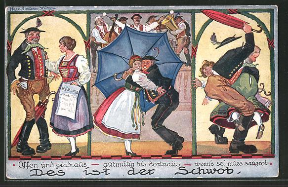 Künstler-AK Hans Boettcher: Des ist der Schwob, Ufrichtig und gradraus, gutmütig bis dortnaus...