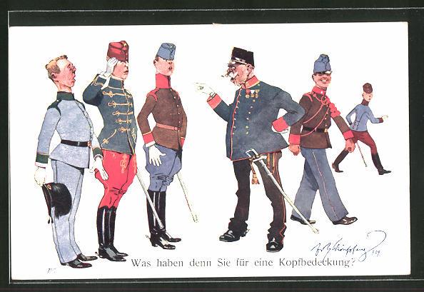 Künstler-AK Fritz Schönpflug: Offizier fragt