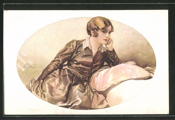 Künstler-AK Terzi: Junge Dame posiert auf einem Polstermöbel