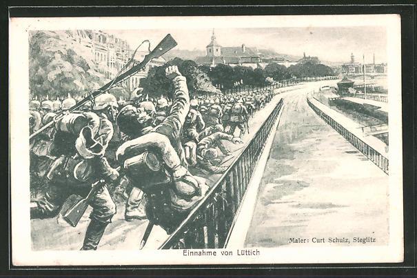 Künstler-AK Curt Schulz-Steglitz: Einnahme von Lüttich durch deutsche Truppen