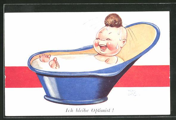 Künstler-AK Mabel Lucie Attwell: Ich bleibe Optimist!, Kind in der Wanne