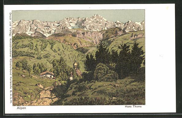 Künstler-AK Hans Thoma: Kleines Dorf in den Alpen